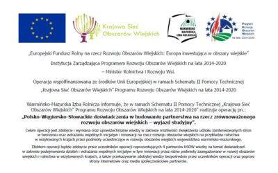 Polsko-Węgiersko-Słowackie doświadczenia (…) – wyjazd studyjny