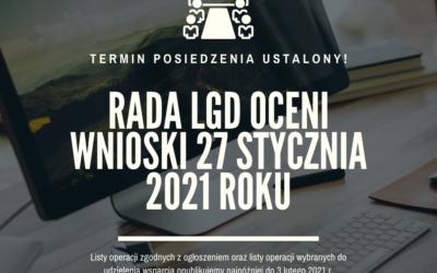 Posiedzenie Rady LGD 27 stycznia 2021 r.